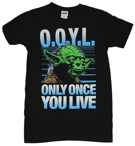 Star Wars Mens T-Shirt - OOYL Only Once You Live Yoda Image
