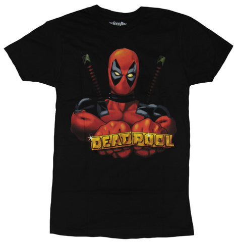 Deadpool (Marvel Comics) Mens T-Shirt - Flexing Knuckle Ringed Name Image