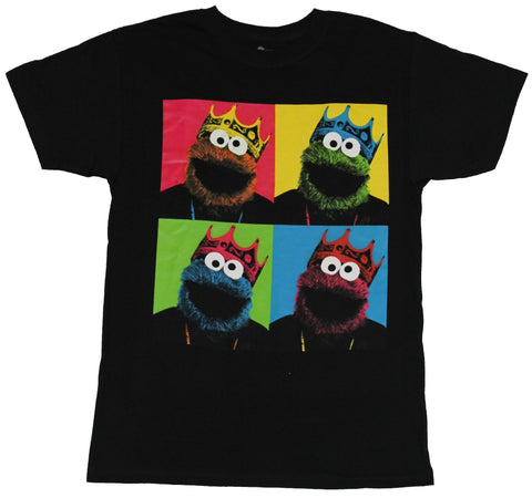 Sesame Street  Mens T-Shirt - Cookie Monster Four Colored Neon Box Image