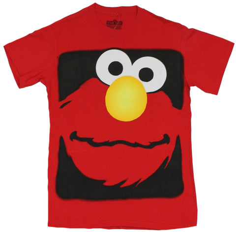 Sesame Street Mens T-Shirt - Giant Elmo Face in Black Box