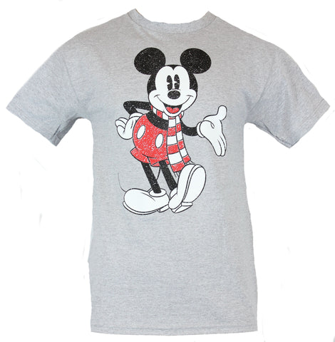 Mickey Mouse Disney Mens T-Shirt -  Distressed Happy Mickey in Scarf Image - Inmyparentsbasement.com