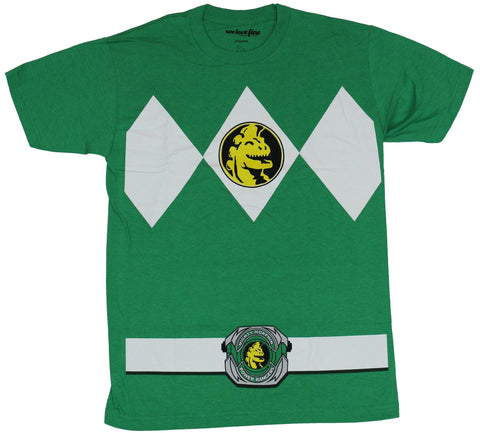 Mighty Morphin Power Rangers Mens T-Shirt  - Classic Green Ranger Costume Fron