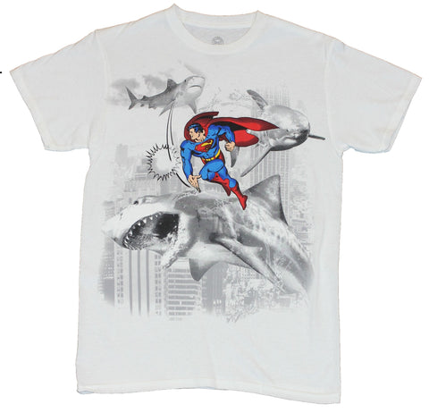 Superman (DC Comics) Mens T-Shirt  - Punching Sharks and Taking Names Image