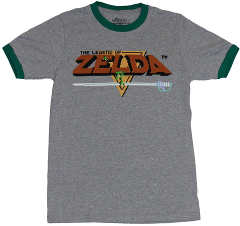 Legend of Zelda Mens Ringer T-Shirt - Classic NES Into Screen Logo Image