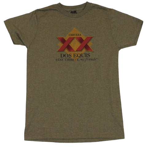 "Dos Equis Beer  Mens T-Shirt -  ""Stay Thirsty My Friends"" Red  XX Logo"