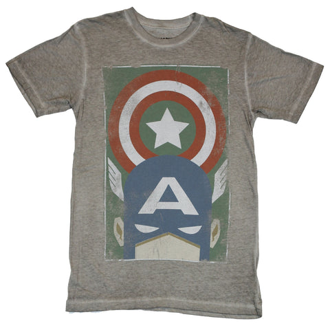 Captain America (Marvel Comcis) Mens T-Shirt - Minimalist Shield Over Mask Image