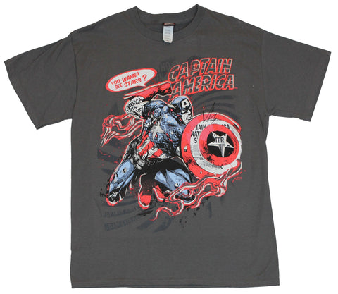 "Captain America (Marvel Comics) Mens T-Shirt - ""You Wanna See Stars"" Image"