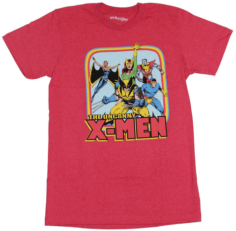 X-Men (Marvel Comics) Mens T-Shirt - The Uncanny X-Men Rainbow Box 70s Team