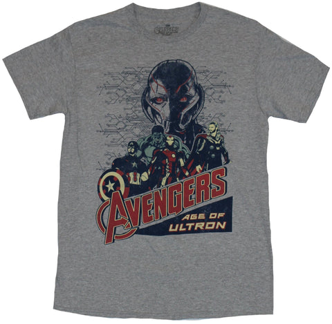The Avengers (Marvel Comics) Mens T-Shirt - Drawn Heroes Under Ominous Ultron