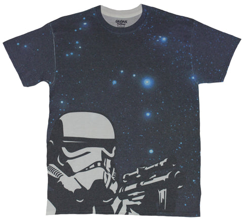 Star Wars Sublimation Mens T-Shirt - Stormtrooper Shooting Over Starry Sky Image