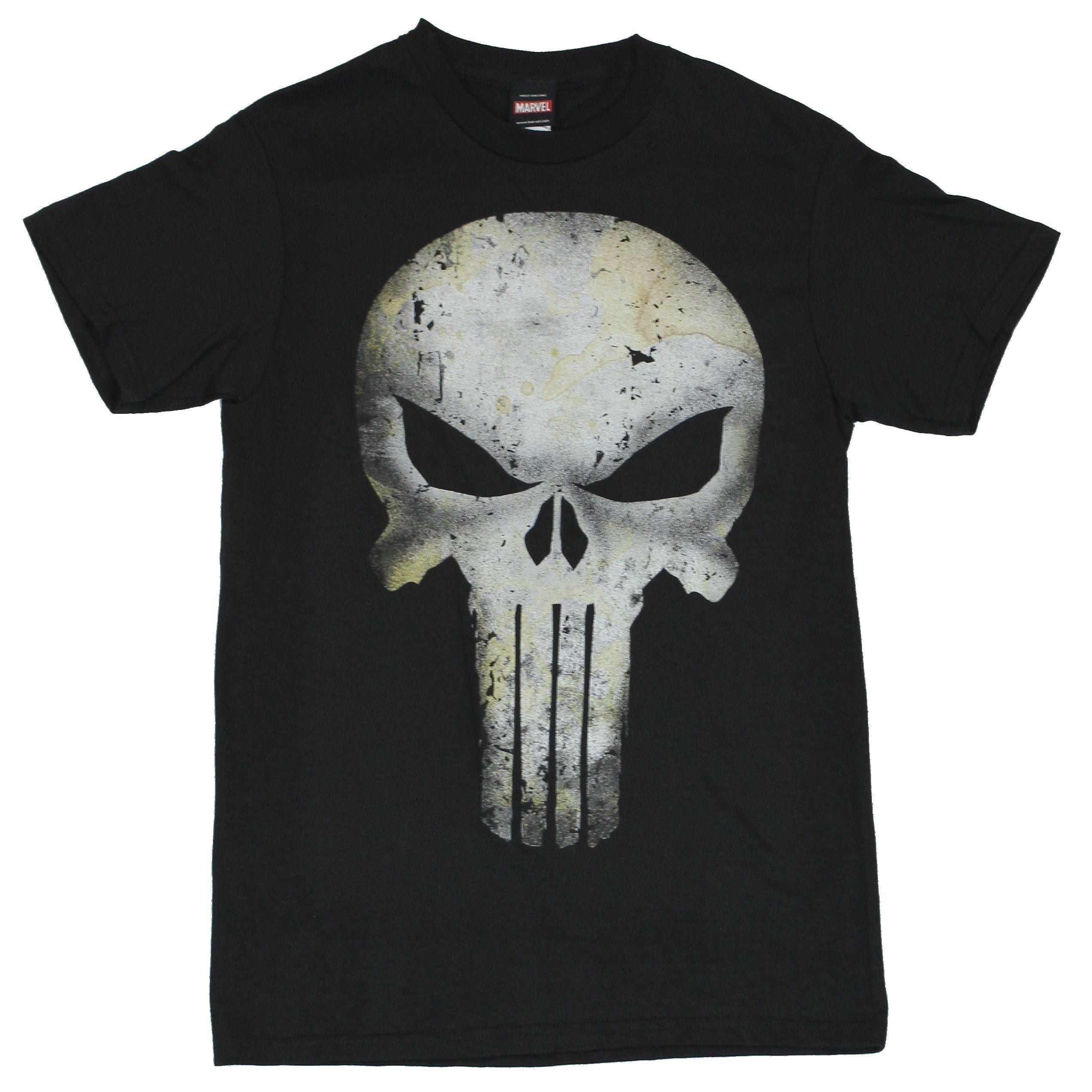 The Punisher (Marvel Comics) Mens T-Shirt - Water Stained Elaborate Skull Image