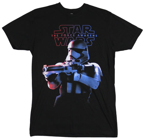 Star Wars Force Awakens Mens T-Shirt - Gun Aiming Stormtrooper Under Logo Image