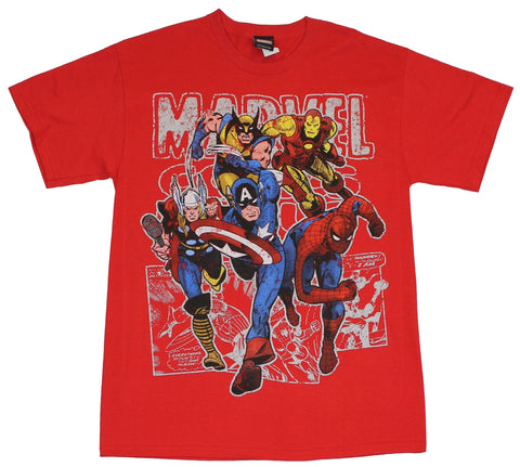 Marvel Comics Mens T-Shirt - Approaching Big 4 Over Classic Logo