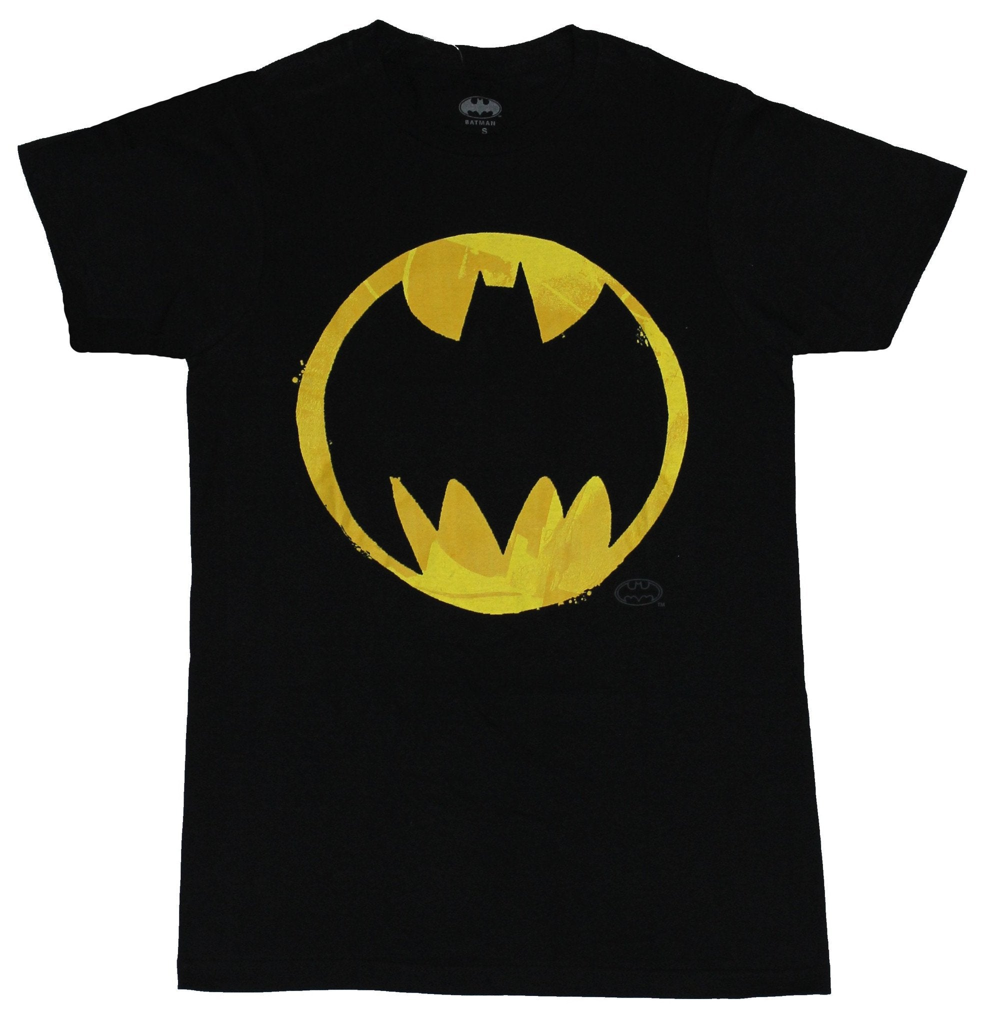 Batman (DC Comics) Mens T-Shirt - Circle Sharp Bat Logo  Yellow Orange color