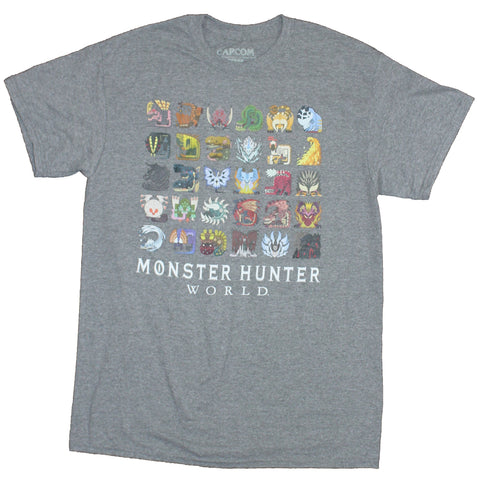 Monster Hunter World Mens T-Shirt - Vintage Style Colorful Icons