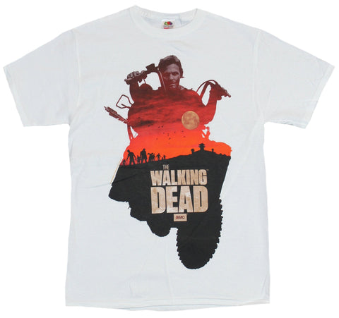The Walking Dead Mens T-Shirt - Daryl Dixon Filled with Red Sky Walker Image