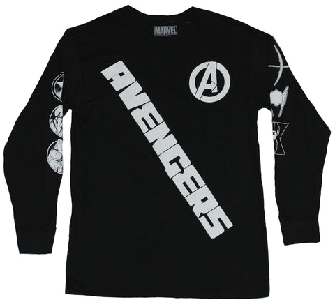 The Avengers Mens Lon Sleeve T-Shirt- Slanted Name Symbol Sleeves Image