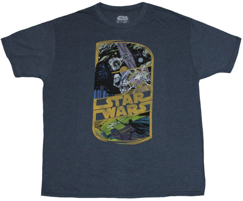 Star Wars Mens T-Shirt - Rectangled Tie Fighter Darth Vader, Saber Art Logo