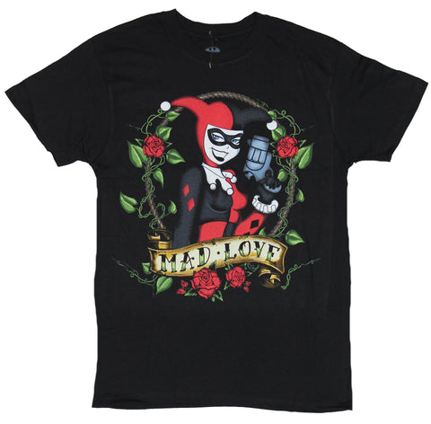 Harley Quinn (DC Comics) Mens T-Shirt - Classic Mad Love Rose Circled Harley