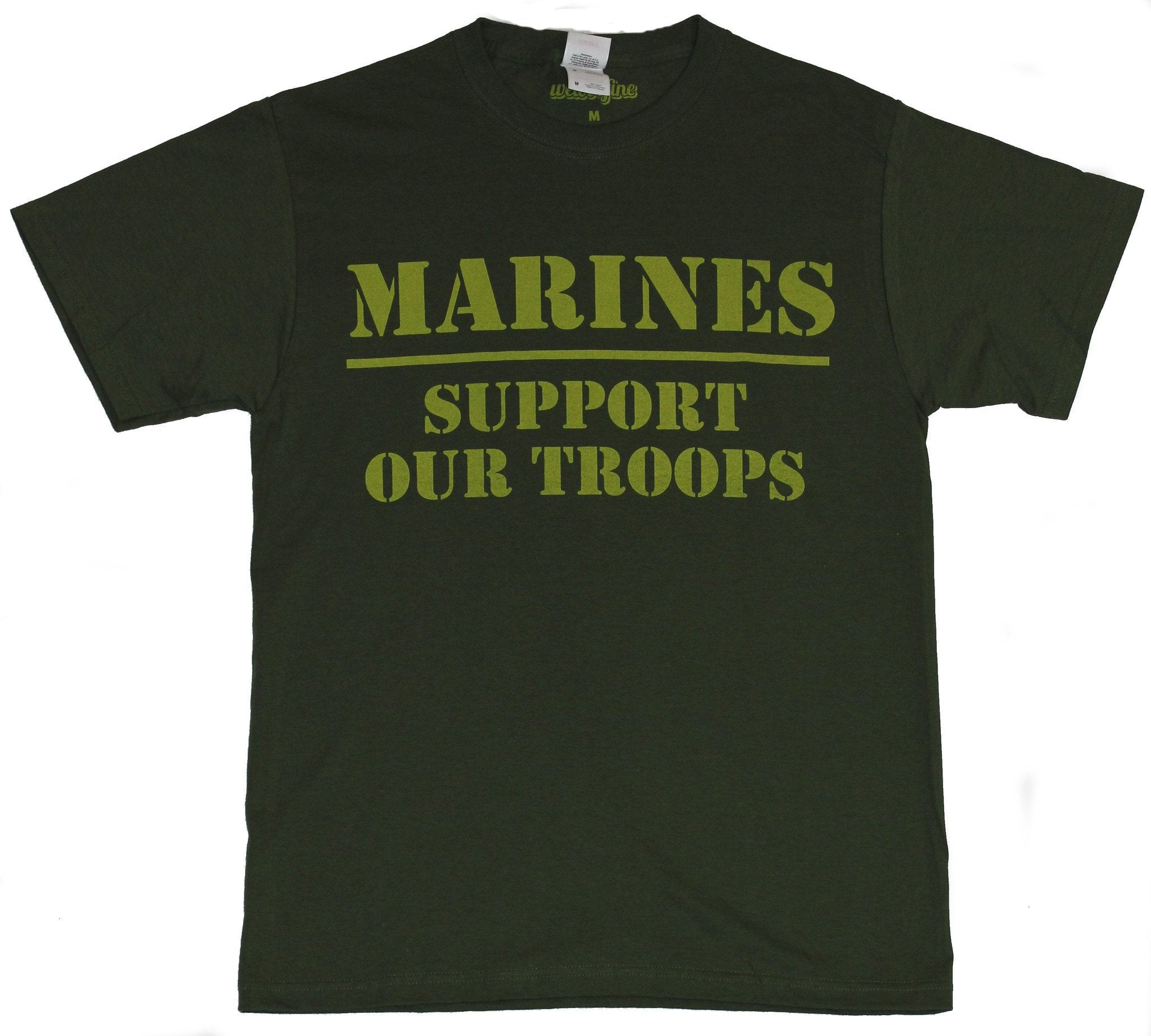 Marines Mens T-Shirt -  Support Our Troops Yellow Words Image