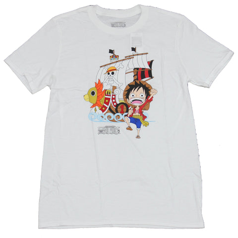 One Piece Movie Mens T-Shirt - Chibi Luffy & Pirate Ship Image