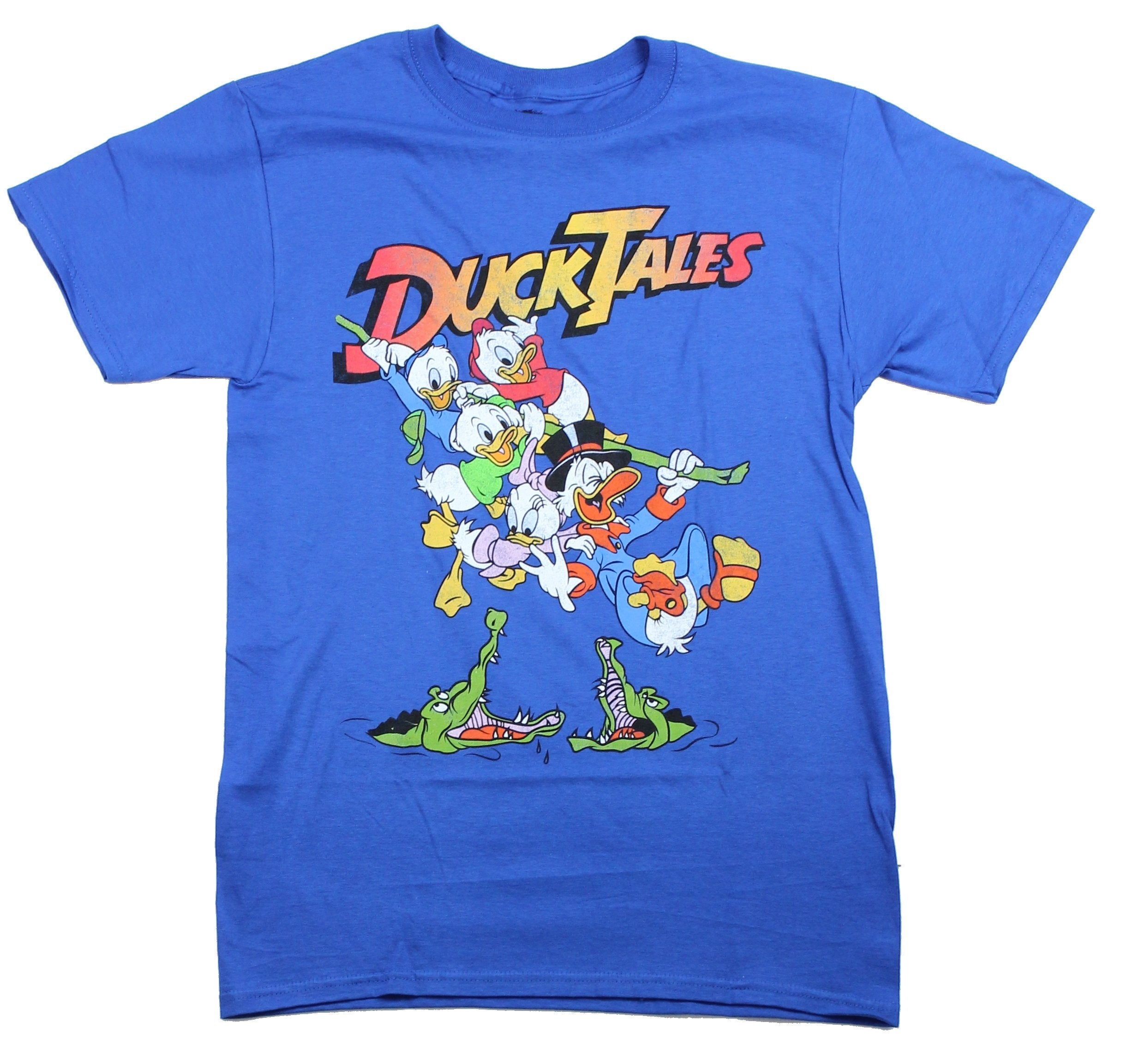 Duck Tales Mens T-Shirt - Uncle Scrooge And Nephews Swinging Through Peril