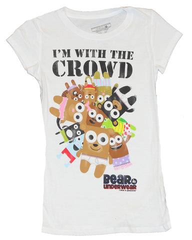 "Bear In Underwear Girls T-Shirt - ""I'm with the Crowd"" Character Pile"
