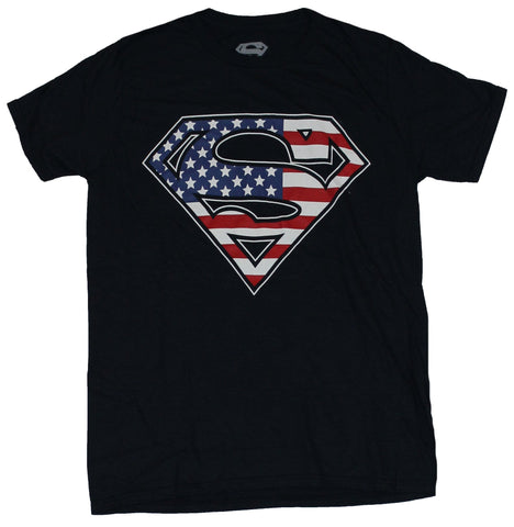 Superman (DC Comics) Mens T-Shirt - Classic Logo in 3 Color American Flag Style