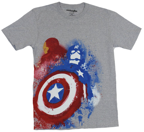Captain America Civil War Mens T-Shirt - Sprayed Cap And Iron Man Back to Back