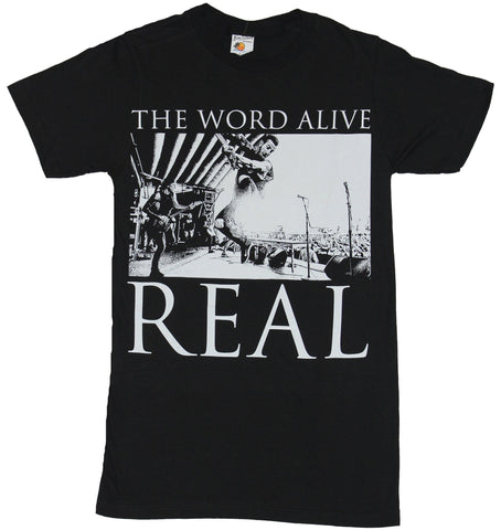 The Word Alive Mens T-Shirt - Real Over Exposed Band Jump White Image