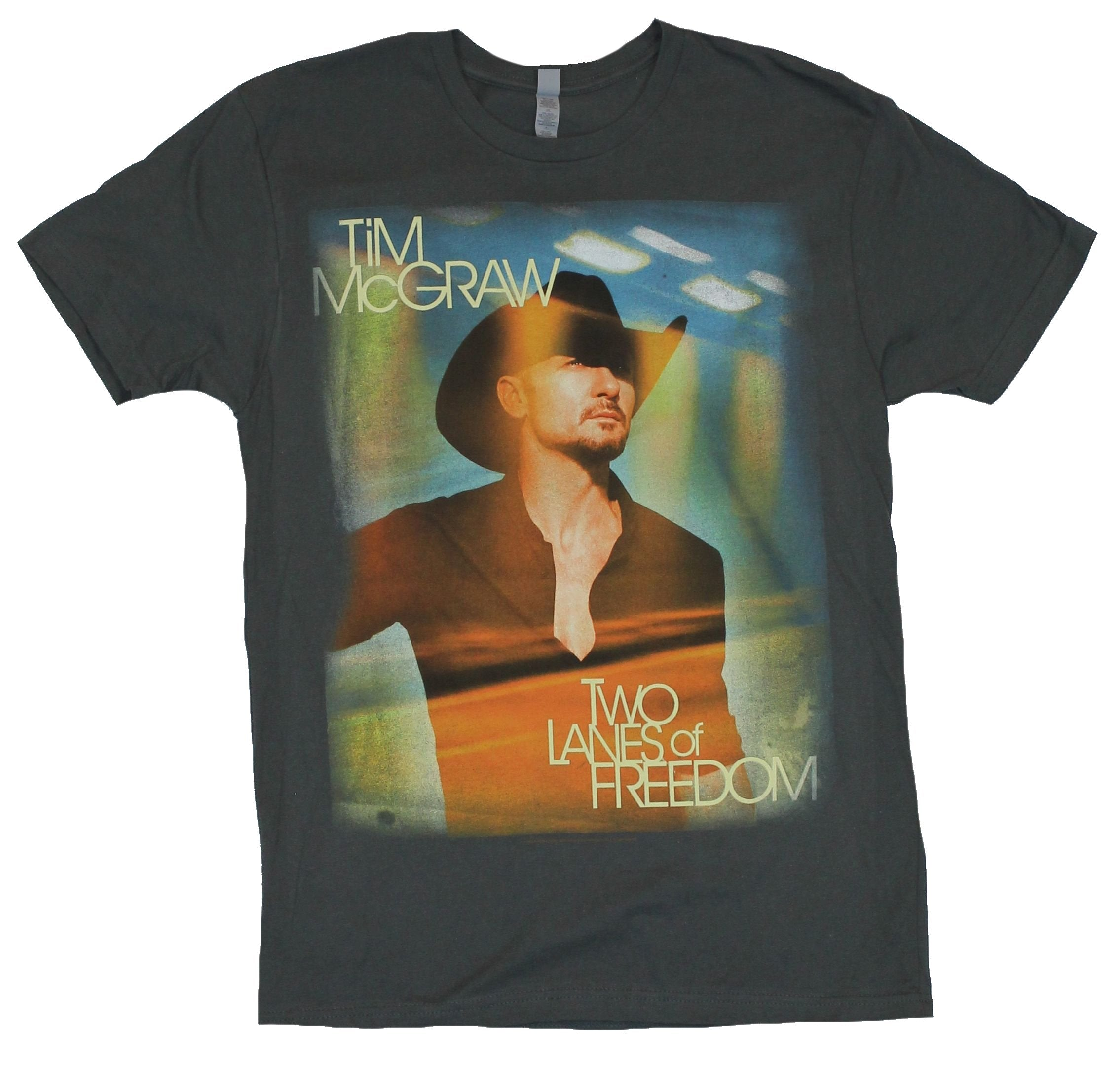 Tim Mcgraw Mens T-Shirt - Two Lanes of Freedom Tour Shirt Sun Tinted Photo