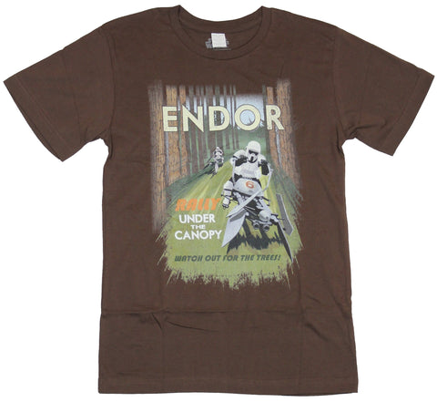Star Wars Mens T-Shirt - Endor Rally Under the Canopy Watch Out For the Trees
