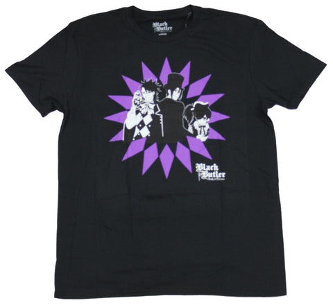 Black Butler Mens T-Shirt - Characters over Purple Star Design