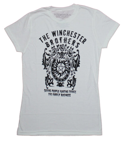 Supernatural Girls Juniors T-Shirt - The Winchester Brothers Saving People Crest