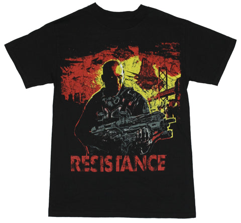Resistance (2,3 PS3 Game) Mens T-Shirt  - Capeli Holding Gun with Yellow Sun I