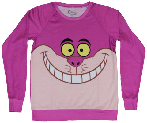Alice in Wonderland Girls Juniors Light Sweatshirt - Cheshire Cat Face Image