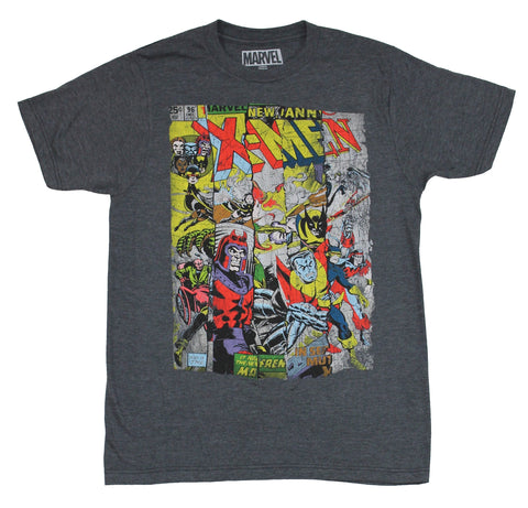 X-Men (Marvel) Mens T-Shirt - Classic Torn Cover Strip Collage