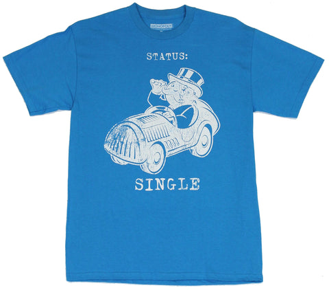 Monopoly Mens T-Shirt  - Status Single Distressed Pennybags Car Image