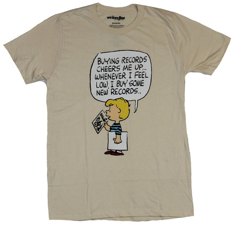 Peanuts Mens T-Shirt - Linus Buying Records Always Cheers Me Up I Buy More