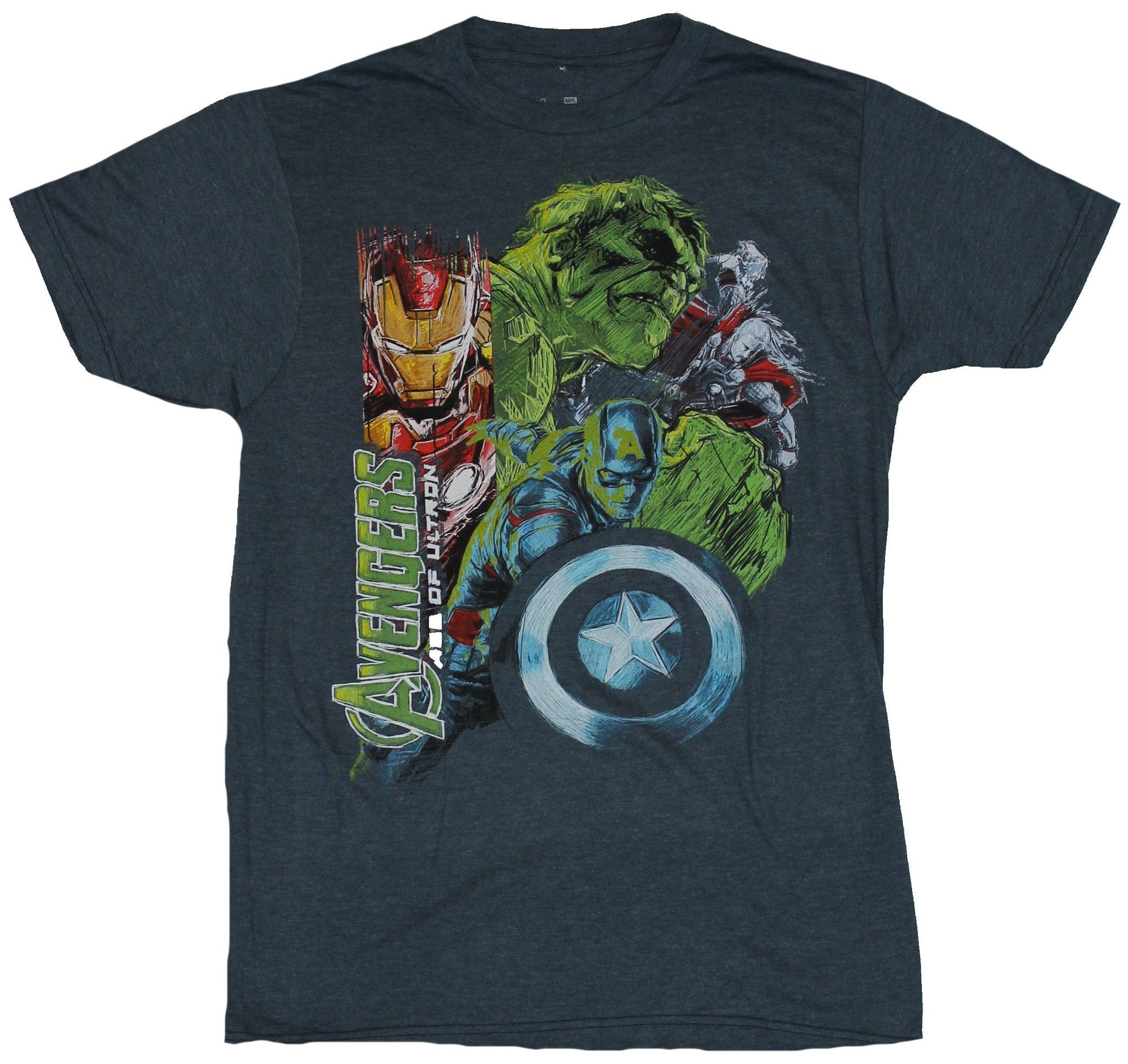 The Avengers (Marvel Comics) Mens T-Shirt - Age of Ultron Sketchy Chalky Heroes