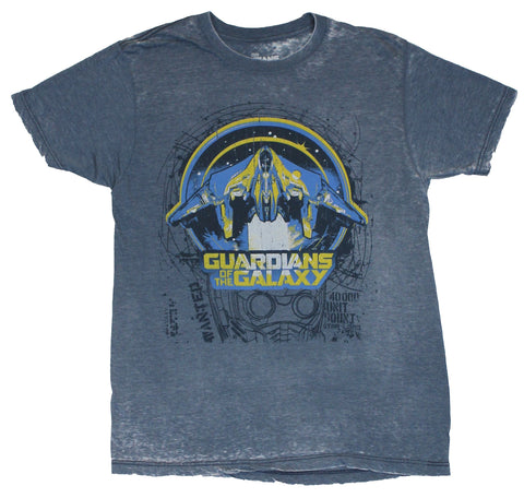 Guardians of the Galaxy Mens T-Shirt - Distressed Starlord Face and Ship Image