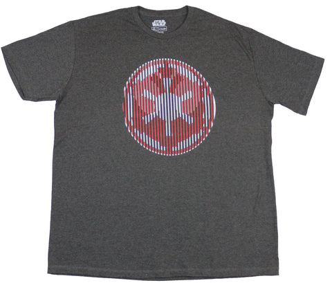 Star Wars Mens T-Shirt - Lined Red Gray Imperial Empire Logo Image