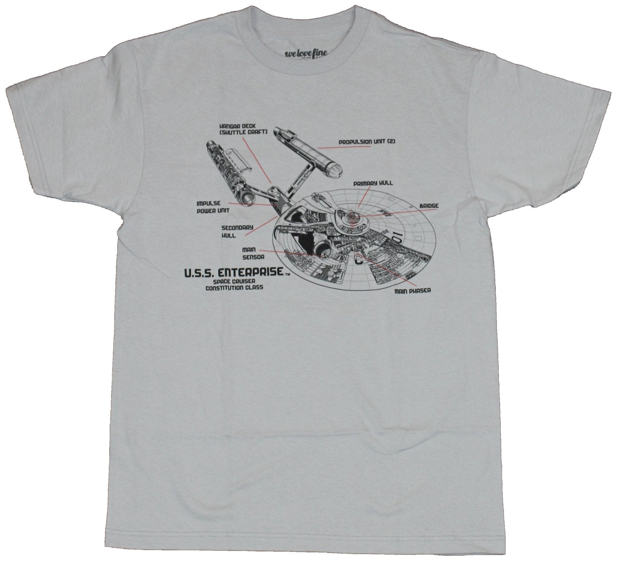 Star Trek Mens T-Shirt - U.S.S. Enterprise Cut Away Design Image