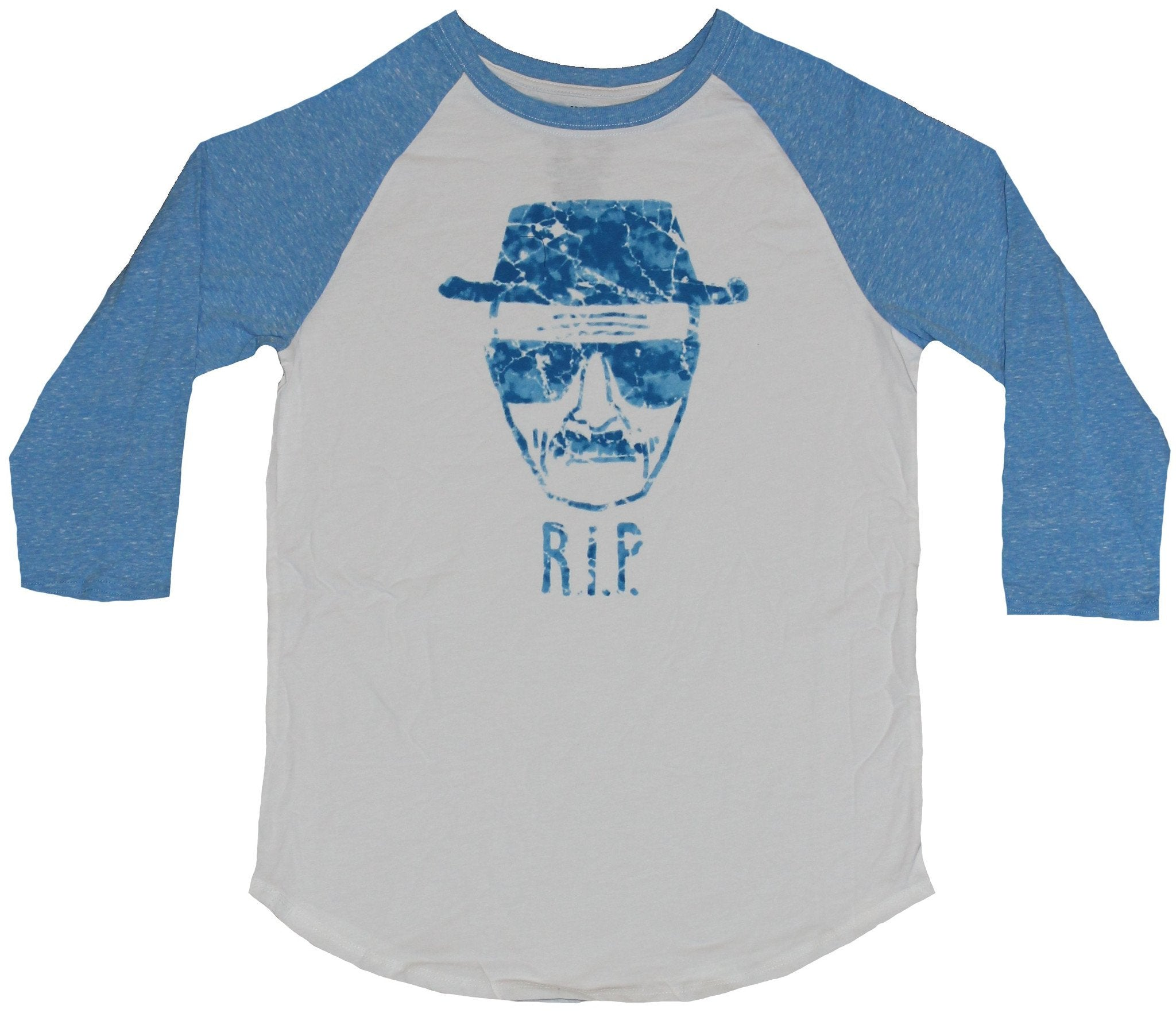 Breaking Bad 3/4 Sleeve Mens T-Shirt - Heisenberg RIP Cracked Ice Blue Sketch