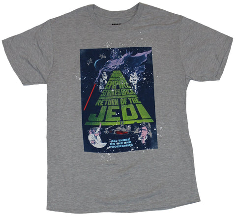 Star Wars Mens T-Shirt - Word Crawl Movie Poster All Three on One Programme