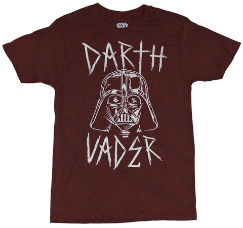 Star Wars  Mens T-Shirt - Darth Vader Mask Sketch In Between Metal Style Letters