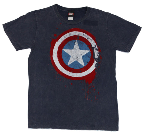 Captain America (Marvel Comics) Mens T-Shirt - Hand Treated Felt Dripping Logo