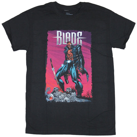 Blade Vampire Hunter Mens T-Shirt - Comic Style Image Atop A pile Of Bones Image