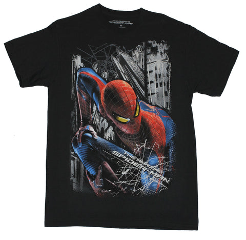 Spider-Man  (Marvel Comics) Mens T-Shirt - Colorful Close Up In City Image