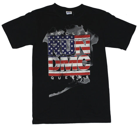 Run DMC Mens T-Shirt -  Hollis Queens Amercian Flag Style Logo